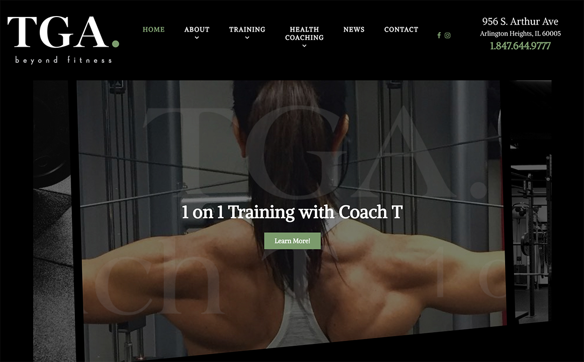 Web Design in Arlington Heights Athletic Training Ground