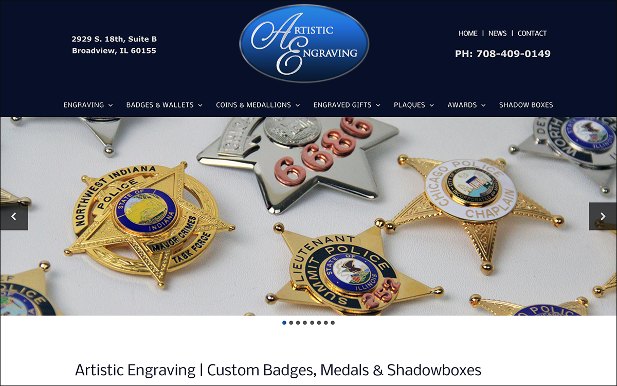 Corporate Website Design and Product Photography for Artistic Engraving in Broadview IL 60155