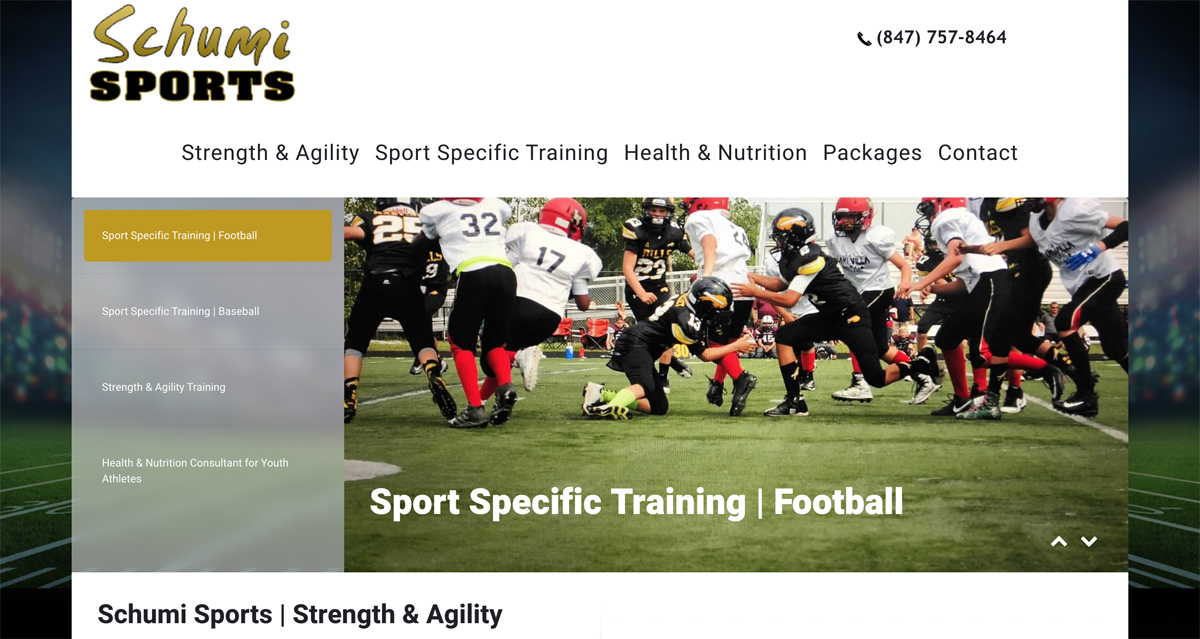 Sports Training Website Design in Buffalo Grove for local Personal Trainer