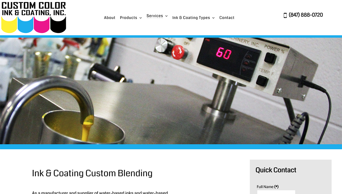 Industrial Website Design for Custom Color Ink in Elgin 60124